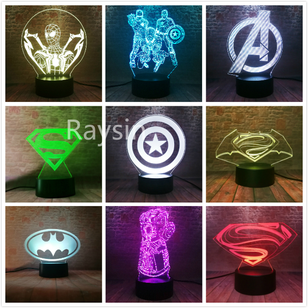 Marvel Comics Avengers Logo Spider Man Iron Man Captain America Thanos Hand Six Diamond Figuras 7 Colors Night Light Bpys Gifts