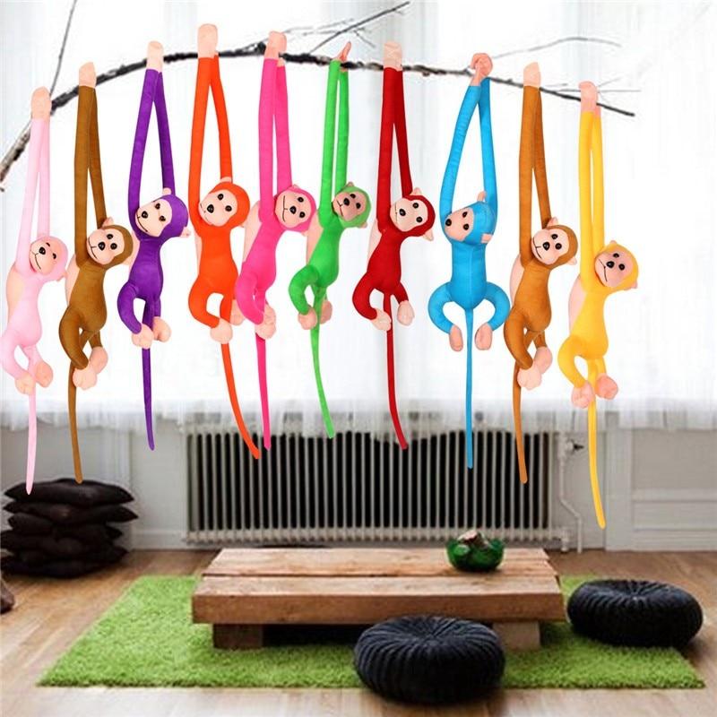 Sevimli uzun kol kuyruk maymun hayvan dolması peluş oyuncaklar renkli bebek bebek perdeleri oyuncaklar çocuklar için doğum günü yılbaşı hediyeleri