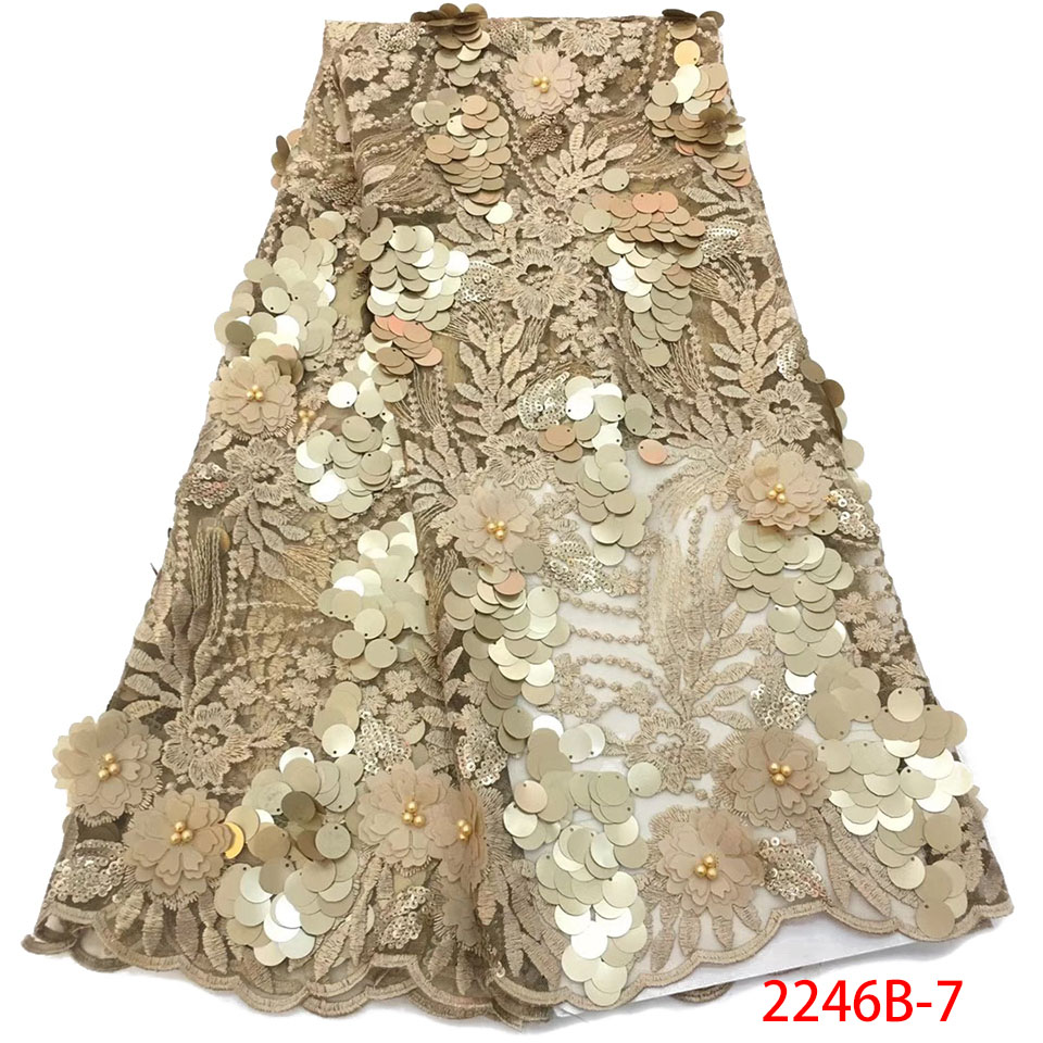 New 3D Tulle Lace 2019 High Quality French Beaded Lace African Lace Fabric Embroidered Nigerian Lace Fabrics With Sequin KS2246B