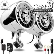 Aileap SPK500 PRO 5 Inch Waterproof ATV/UTV/RZR Motorcycle Bluetooth Speaker Heavy Duty Bass Boat Audio System with AUX MP3 USB