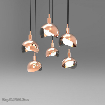 Modern Glass Ball Pendant Lights Metal Hanging Lamp Kitchen Fixtures Living Room Bedroom Suspension E27 Champagne Gold Luminaire