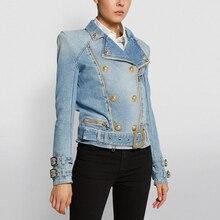 HIGH QUALITY Newest 2021 Designer Fashion Designer Jackets Women's Zippers Lion Buttons Biker Denim Motorcycle Jacket