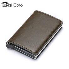 Кошелек унисекс из экокожи BISI GORO, кошелек с алюминиевой прослойкой, для хранения кредитных карт, чехол с функцией
