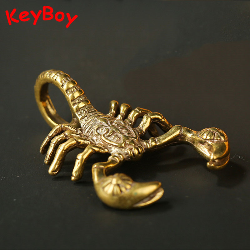 Handmade Brass Scorpio Pendant Vintage Bronze Scorpion Car Key Chain Pendant Hanging Trinket DIY Keyrings Necklaces Accessories