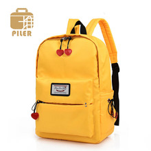 High Quality Nylon Waterproof Women Backpack Heart Pendant Korean School Student Bag Yellow Backpack for Teenagers Girls Travel Bag цена 2017