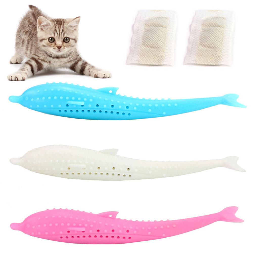 2Pcs Pet Kitten Cat Toothbrush Fish Shape Catnip Molar Bite-resistant Chew Toy Cleaning Toy For Kitten image