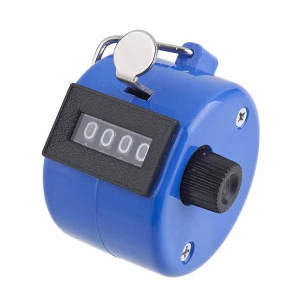Tally-Counter Digital Mechanical-Clicker Manual-Number Chrome Blue Golf-Pitch Handheld