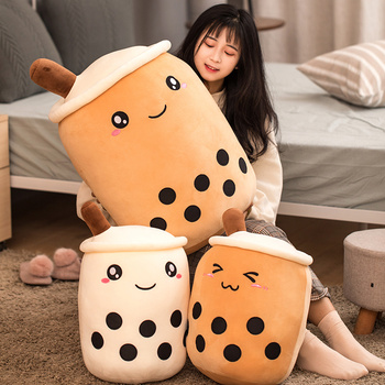 cute soft cartoon bubble tea cup plush toys filled with fashionable drinks pillow straw cute cushion milk tea cup pillow plush Cute Bubble Tea Stuffed Plush Pillow Cushion Funny Cartoon Milk Boba Soft Toys Kids Present Birthday Valentine's Gift