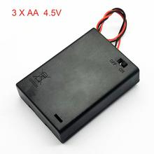 3 AA 4.5V bateria pojemnik na pudełko obudowa baterii z przełącznikiem nowe 3 opakowanie na baterie AA 4.5V
