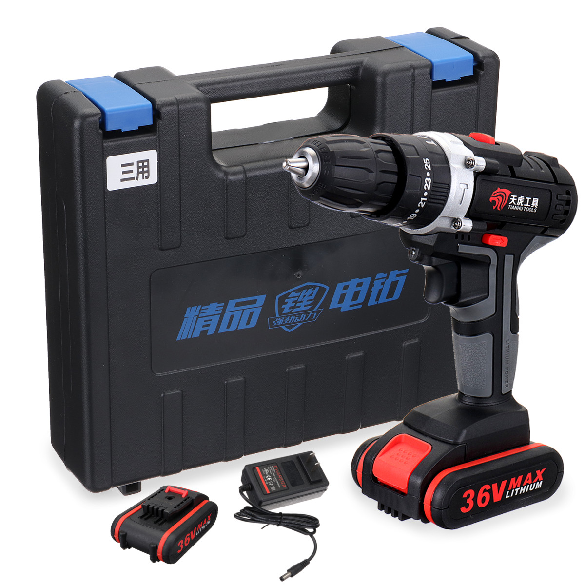 36V Impact Drill Electric Screwdriver Hand Electric Drill 2 Battery Cordless Drill Home Diy Power Tools & Light Tool Box
