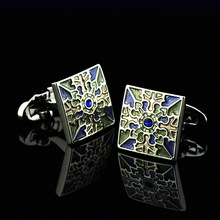 Bridegroom Wedding Evening Party Business Men Cufflinks French Shirts Cuff Links Blue Green Enamels Silvery Cufflink With Gift Bag circle milestone steel varnish baking cufflinks for men silvery blue pair