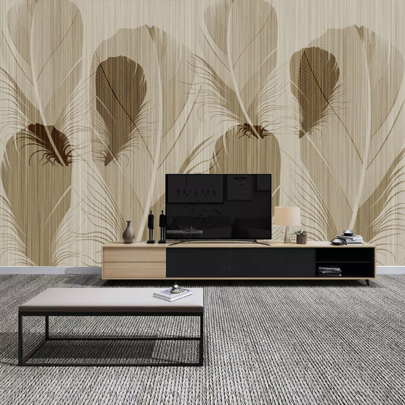 Northern European-Style Hand-Painted Feather Restaurant Wallpaper Living Room Bedroom Sofa Abstract Non-woven Mural 5D TV Backdr
