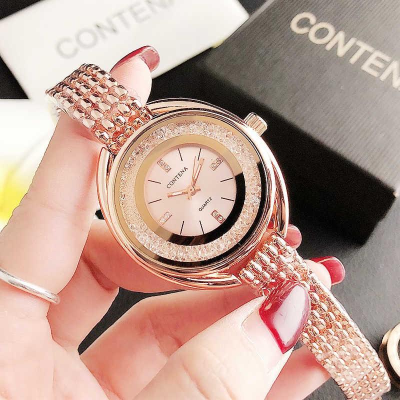 CONTENA Strass Frauen Uhren Diamant Quarzuhr Frauen Stilvolle Rose Gold Uhr für Frauen Uhr Damen Uhren Montre Femme