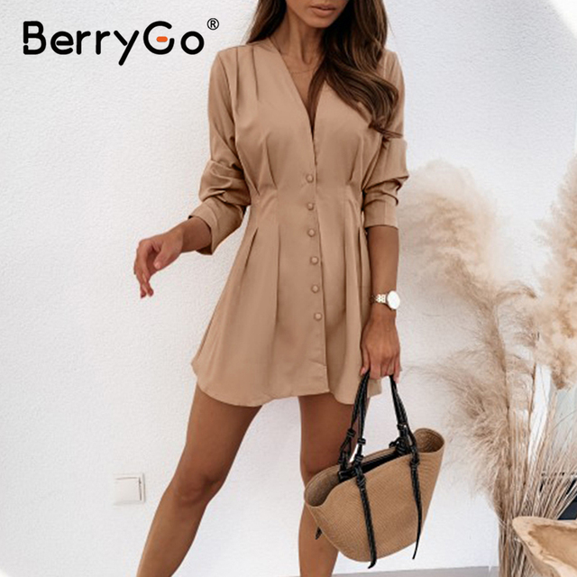 V-neck dresses for women High waist long sleeve