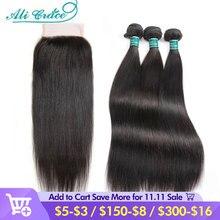 アリグレース髪ストレートヘアの束で4 × 4バンドルブラジルの30インチ人間の髪のバンドルと閉鎖
