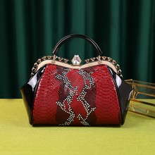 ICEV new classic women split leather handbag designer quality serpentine bags diamond ladies office clutch top handle bag shell