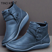 TINO KINO Women's PU Leather Vintage Ankle Boots Women Short