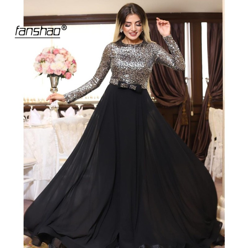 Silver Sequin Evening Dresses O-neck Black Chiffon Full Sleeve Special Occasion Islamic Dubai Saudi Arabic Evening Prom Dress