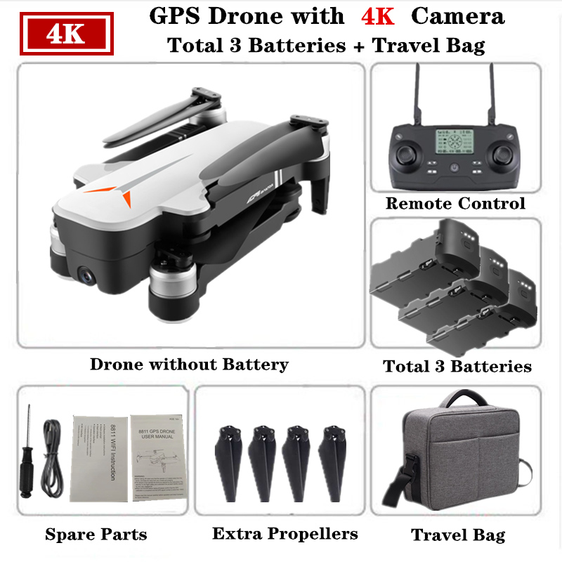 RC Drone 8811 GPS with 5G 4K HD Dual Camera Gesture Foldable Control Quadcopter with Camera Flight 23mins Dron VS F11 B4W SG906