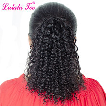 Mongolian Kinky Curly Drawstring Ponytail Human Hair Afro Clip In Extensions For Black Women 2 Combs Lulalatoo Remy Hair(China)