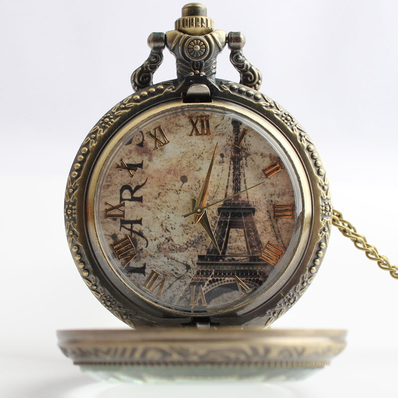 Pocket & Fob Watches Vintage Bronze Paris Eiffel Tower Design  Quarzt Pocket Watch with Neckace Pendant for Men/women Gift