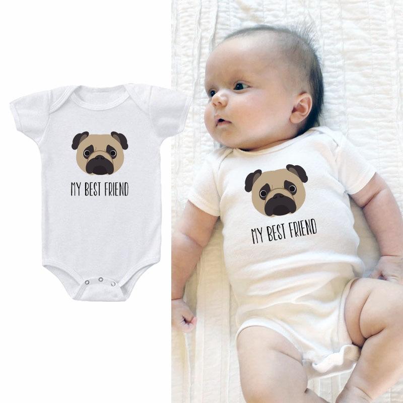 Pug Mom Paw Baby Boys Girls Cute Bodysuit Onesies