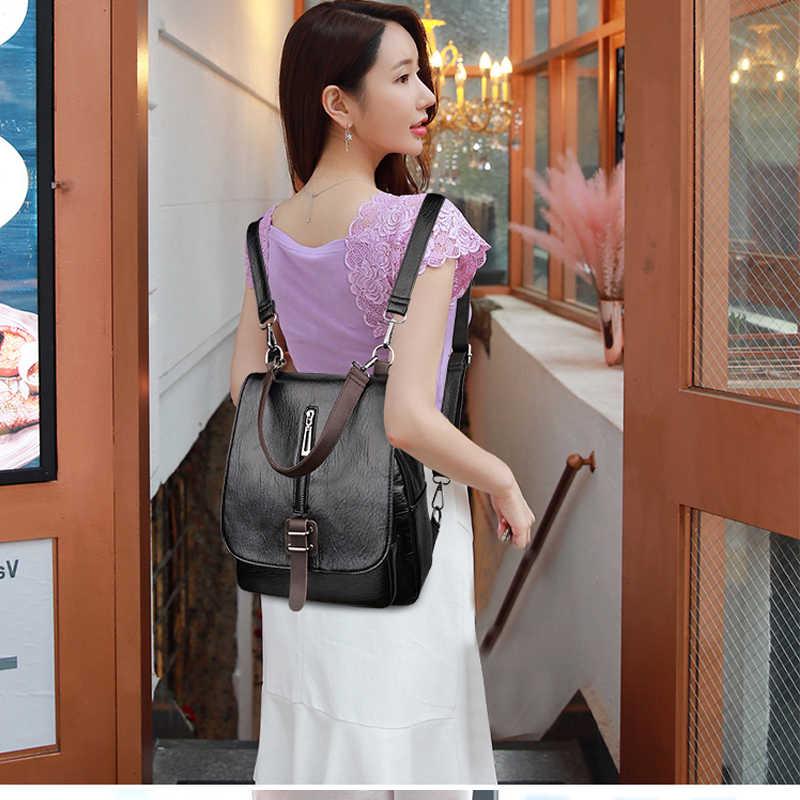 Vintage Women High Quality Leather Backpacks 2019 Multifunction Backpacks for Female Big Bookbag Ladies Travel Bag Sac A Dos