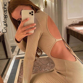 Cryptographic Sexy Backless Ribbed Knitted Midi Dresses Mock Neck Club Party Long Sleeve Dress Autumn Winter Streetwear Dresses low cut u neck bow tie bodycon dress sexy dresses woman party night elastic long sleeve open back autumn and winter