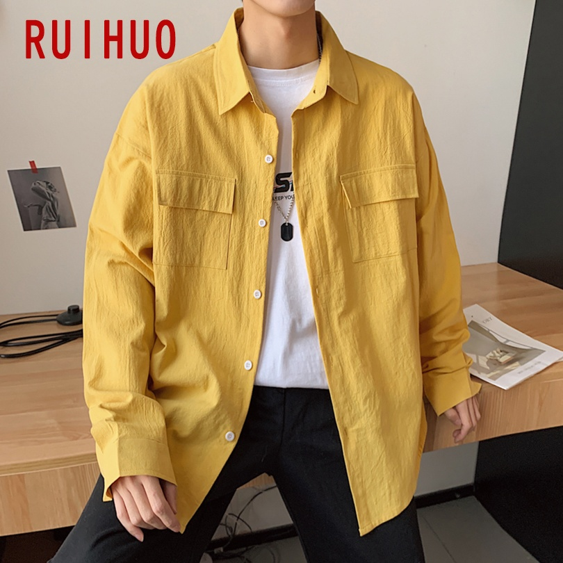 RUIHUO 2020 New Spring Solid Casual Long Sleeve Shirt Men Slim Fit Cotton Japan Style Men Shirt Male Clothing Brand Tops M-5XL