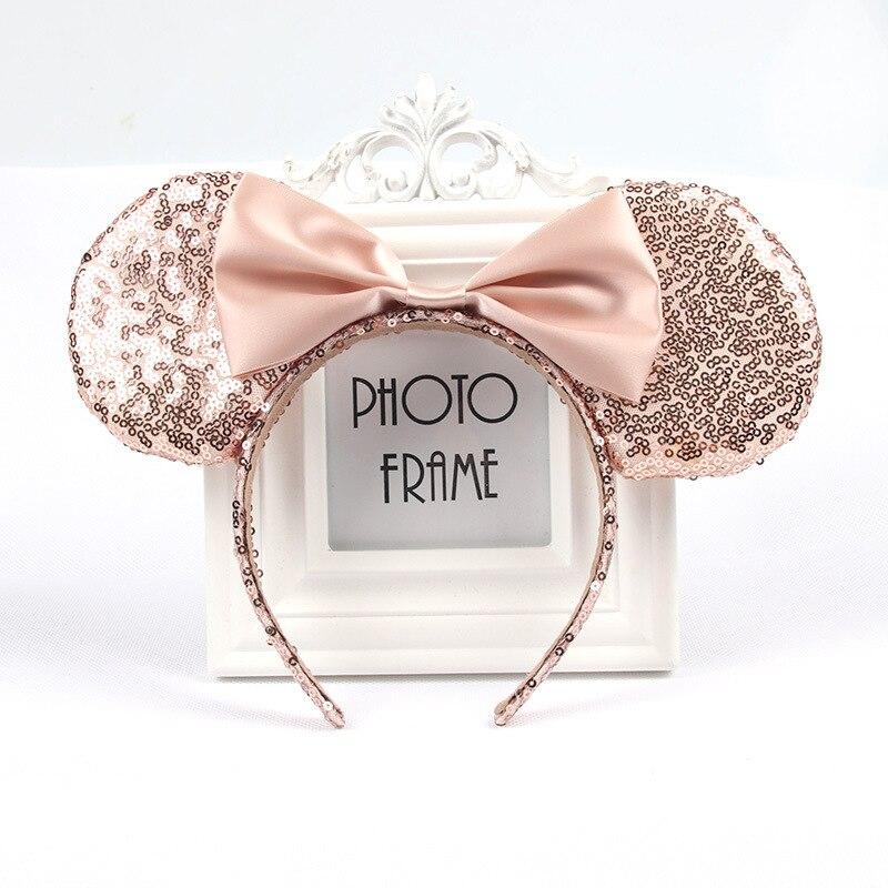 Рождество Микки повязка на голову, Минни-Маус и повязка на голову розового цвета со стразами заколки для волос в форме бантиков для девочек оленьи рога, для волос аксессуары для День рождения