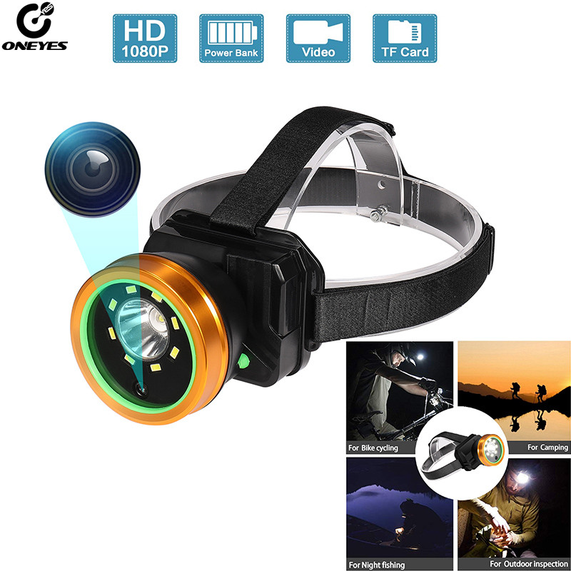 Outdoor Sports Camera with Headlamp USB charging Waterproof  Head-Mounted Video 1080P for field work recording
