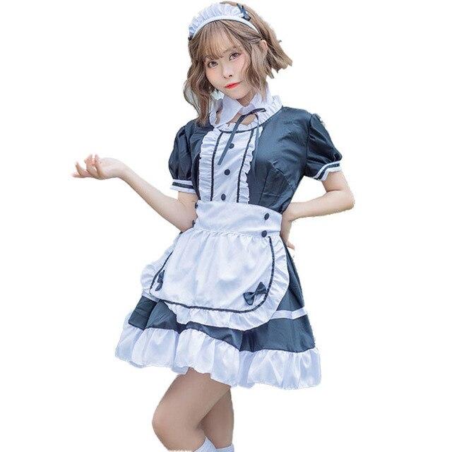 Robe Lolita douce femme de chambre française Costume de serveur femmes Sexy Mini pinabefore mignon Ouji tenue Halloween Cosplay pour les filles grande taille
