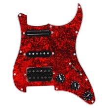 Guitar Pickguard 3-Ply SSH Loaded Prewired Humbucker Pickguard Pickups Set for Fender Strat ST Electric Guitar Red Pearl(China)