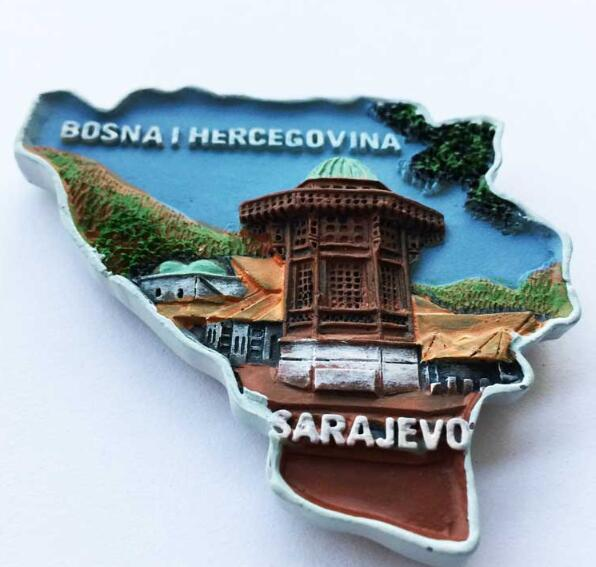 1pc Sarajevo View Resin Travel Souvenir Fridge Magnet Home Decoration Collection