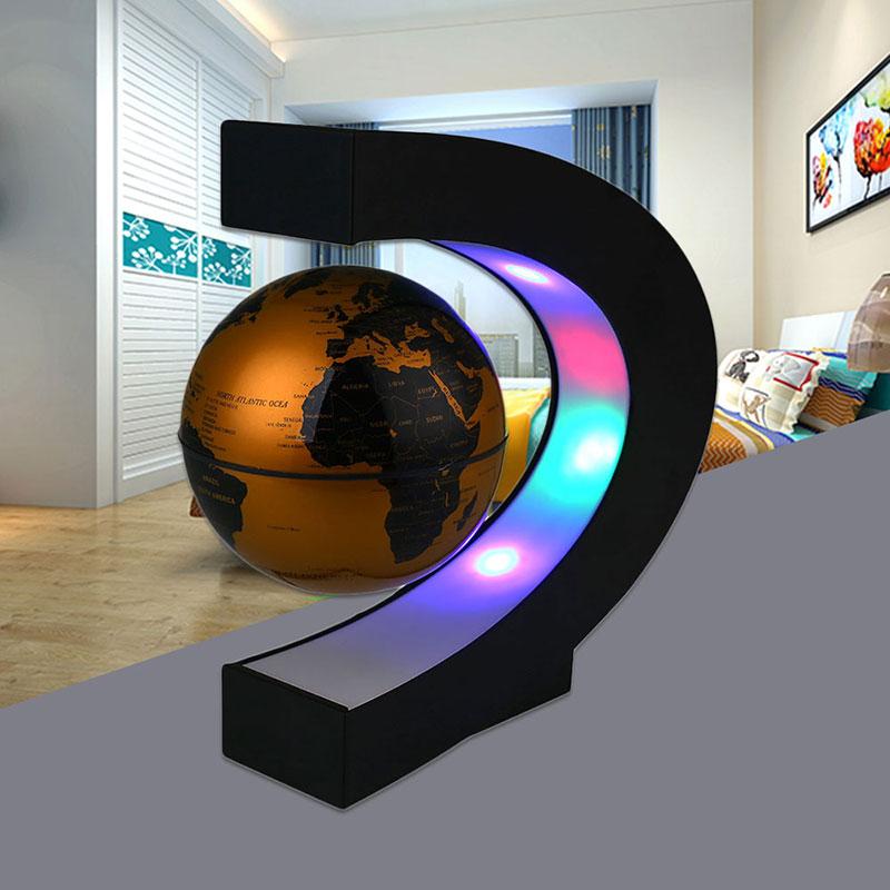 Night Light Globe Lamp Magnetic Levitation World Map Living Room DIY Study Romantic Decoration Home Bedroom C Shape in Night Lights from Lights Lighting