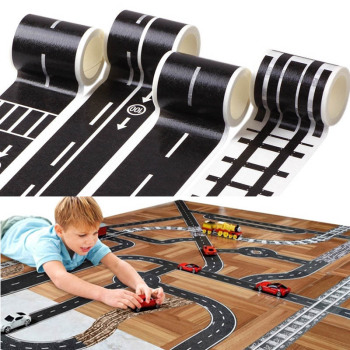 Railway Road Tape Kids Toy Traffic Road Track Scene Washi Tape Puzzle Toys DIY Track Floor Sticker Toy Car Traffic Sticker Label 48mmx5m railway road washi tape wide creative traffic road adhesive masking tape road for kids toy car play