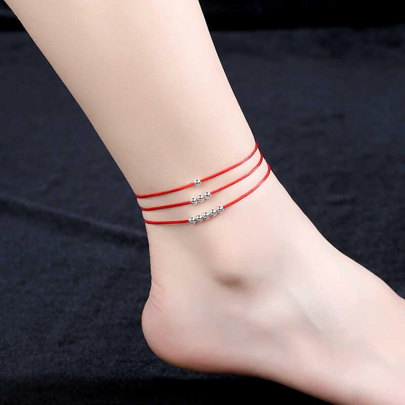 Simple สร้อยข้อมือลูกปัดเงิน 925 เงินสเตอร์ลิงลูกปัดเครื่องประดับ Lucky ขาผู้หญิงข้อเท้าครบรอบของขวัญ