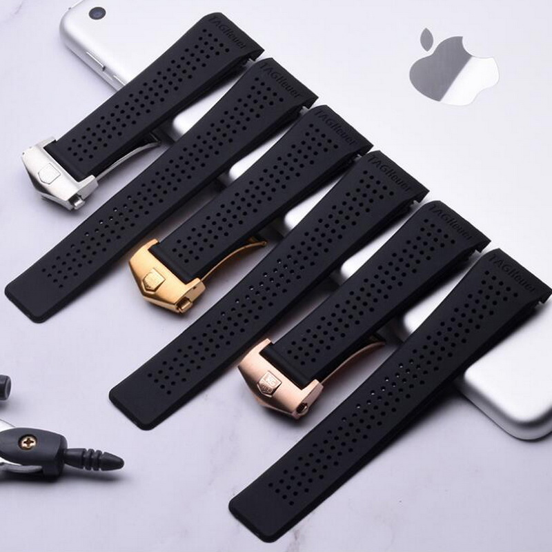 22mm 24mm Rubber Watch Strap For Tag Heuer Carrera Silicone Men Sport Watch Band With Stainless Steel Butterfly Folding Clasp