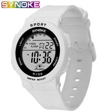 SYNOKE цифровые часы для женщин 50 м водонепроницаемые электронные спортивные часы для мужчин и женщин Фитнес резиновые цифровые наручные часы для женщин светодиодный