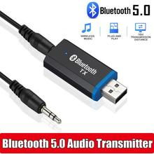 Mini USB Bluetooth 5.0 Audio Receiver Transmitter 3.5mm Jack AUX USB Stereo Music Wireless Adapter Converter For TV Car Speaker