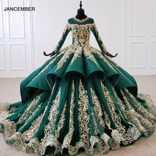 HTL1099 Luxury Green Crystal Evening Dress 2020 Long Sleeve Appliques Beading Ball Gown Lace Up Back Plus Size