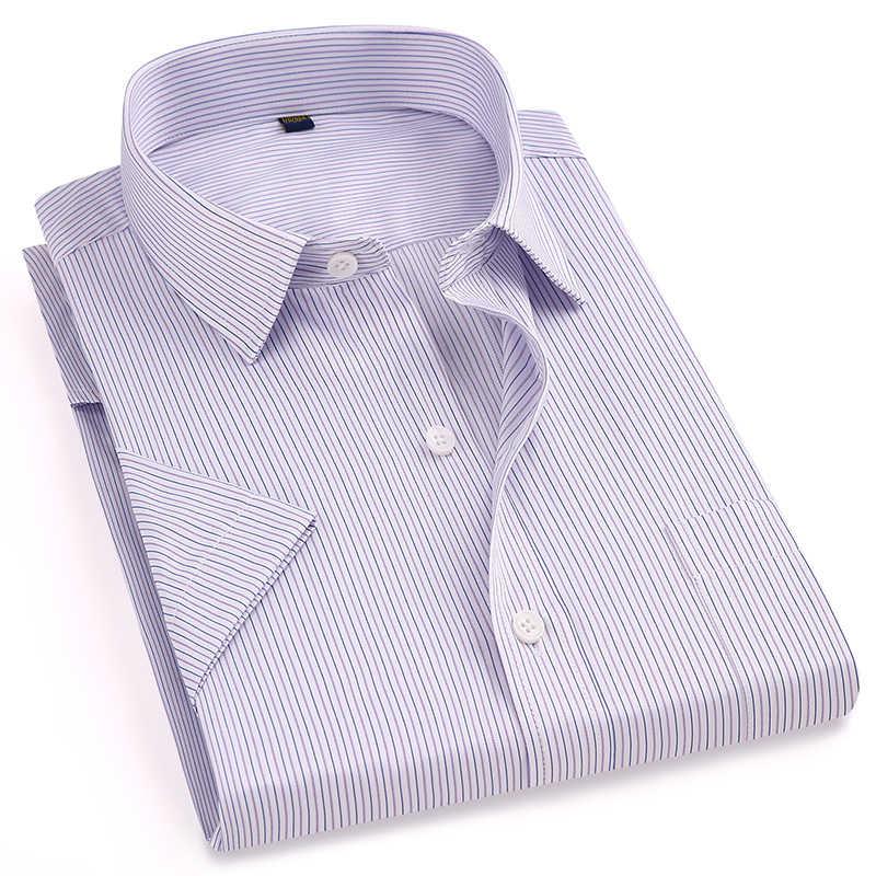 ビジネス男性半袖正規フィットカジュアルシャツターンダウンカラー襟イージーケアストライプ/チェック柄