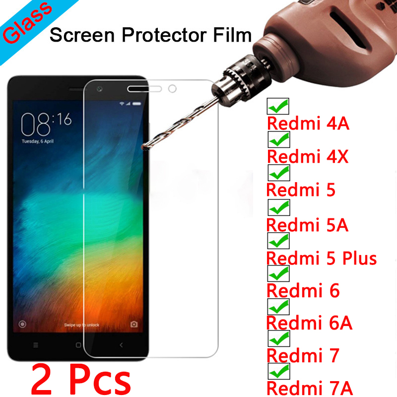 2pcs! Toughed Screen Protector for Xiaomi Redmi 7 K20 6 Pro 5 Plus 9H HD Tempered Film Protective Glass on Redmi 7A 6A 5A 4A 4X(China)