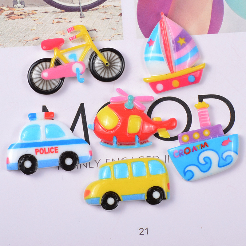 2pcs/bag Resin Cartoon Car Airplane Ship Models Super Light Clay Slime Supplies DIY Personality Crafts Accessories Polymer Clay