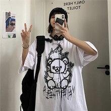 Frauen T-shirt Gothic Y2K Harajuku Top Anime Cartoon Print Plus Größe Kurzarm Vintage Punk Schwarz Koreanische Kleidung
