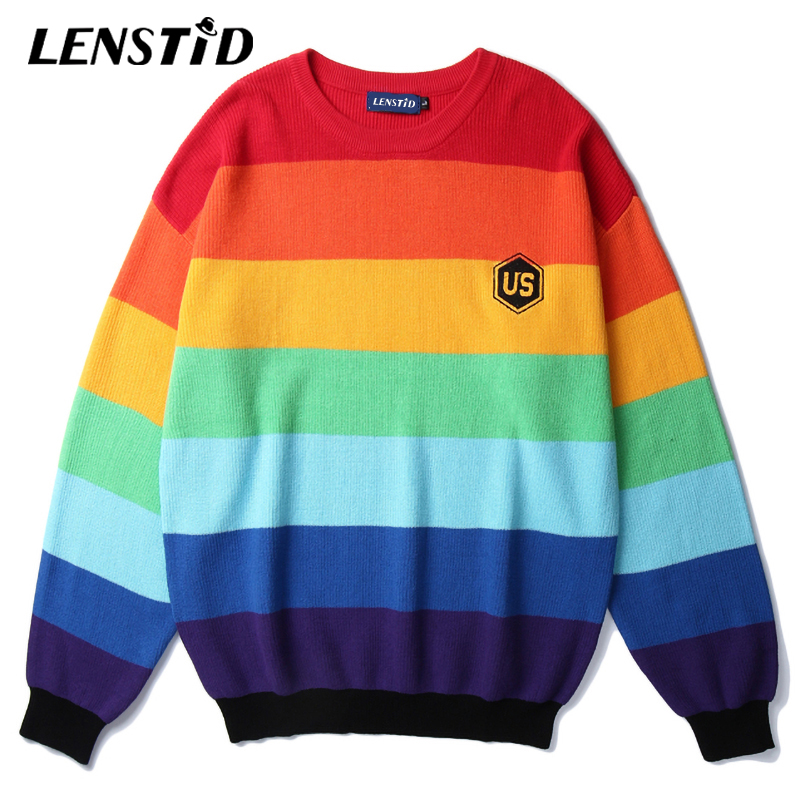 LENSTID 2019 Autumn High Street Rainbow Striped Knitted Sweaters Harajuku Streetwear Men Hip Hop Color Block Embroidery Pullover