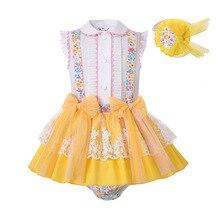 Pettigirl, venta al por mayor, conjunto de ropa de verano para niñas, estampado de flores amarillas de Pascua, conjunto de ropa de verano para niños + Pantalones de PP + sombreros