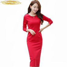 Fashion Vrouwen Sexy Bodycon Jurk Herfst Winter Schede Werk Womens Jurken Vestido Solid Elegant Pakket Hippe Jurk WXF557(China)