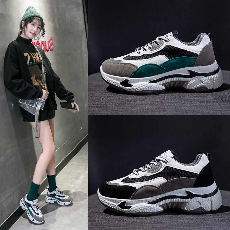 Phụ Nữ Chun Giày 2020 Mùa Xuân Đen Nền Tảng Giày Thời Trang Nữ Phẳng Thoáng Khí Giày Sneaker Nữ 865