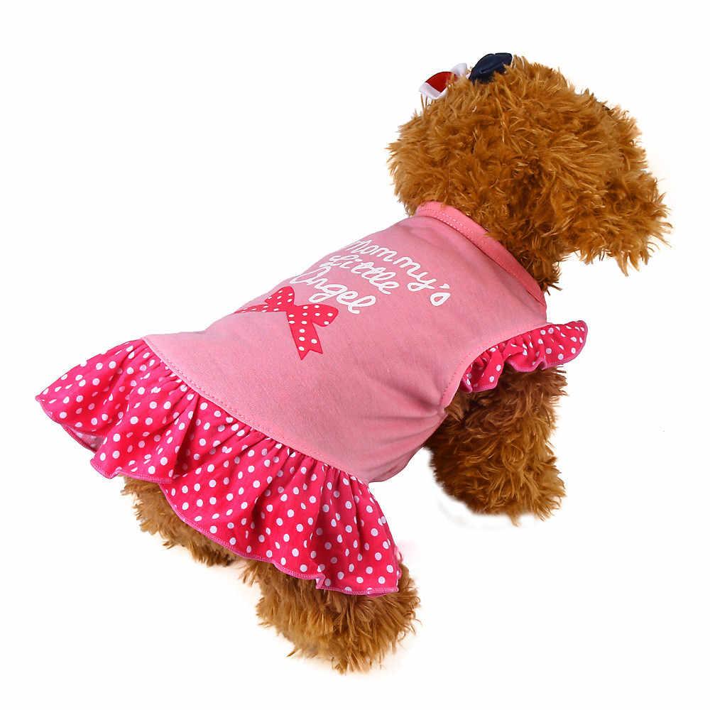 Letnia sukienka dla psa ubrania dla zwierząt domowych szczeniak mała krótka koszulka z rękawem dot Sweety princeska impreza przebierana urodziny wesele Mascotas